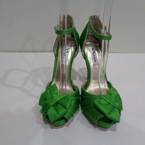 Nina Shoes - Nina Size 6.5 ELLA Green Luster Satin Heel Sandals